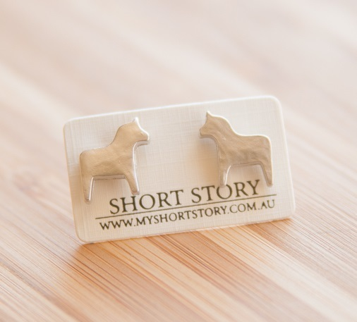Short Story: Funky Play Earrings - Gold Horse image
