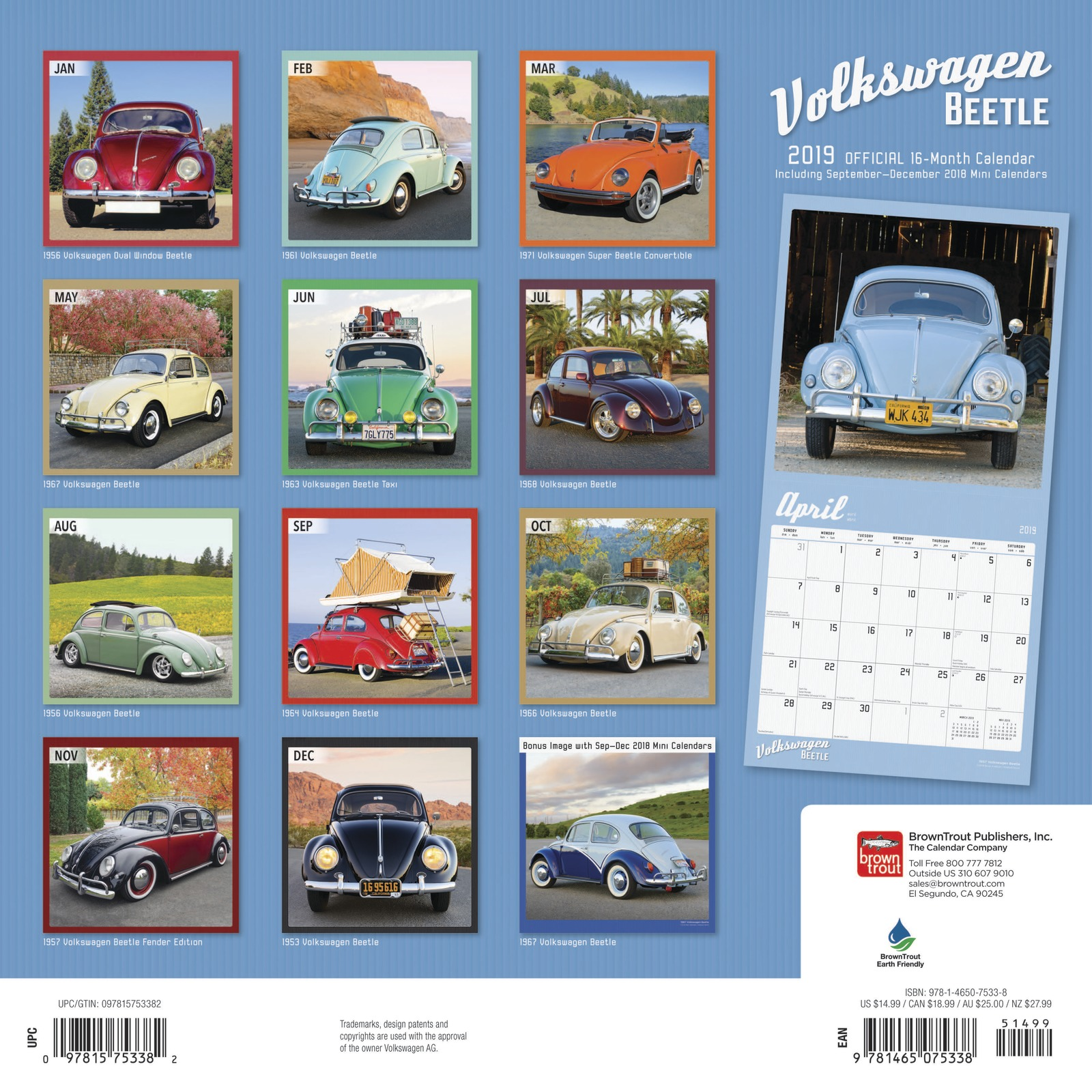 Volkswagen Beetle 2019 Square Wall Calendar by Inc Browntrout Publishers image