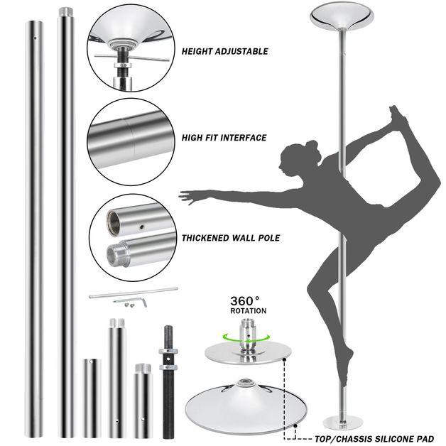 360° Pro Fitness Spinning Dancing Training Pole - Chrome (223-274cm)
