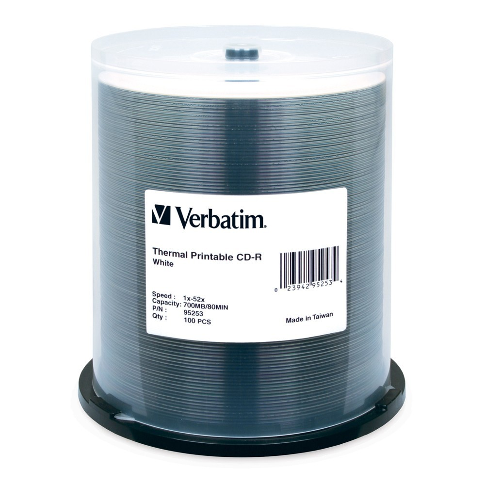 Verbatim CD-R 700MB White Thermal 52x (100 Pack) image