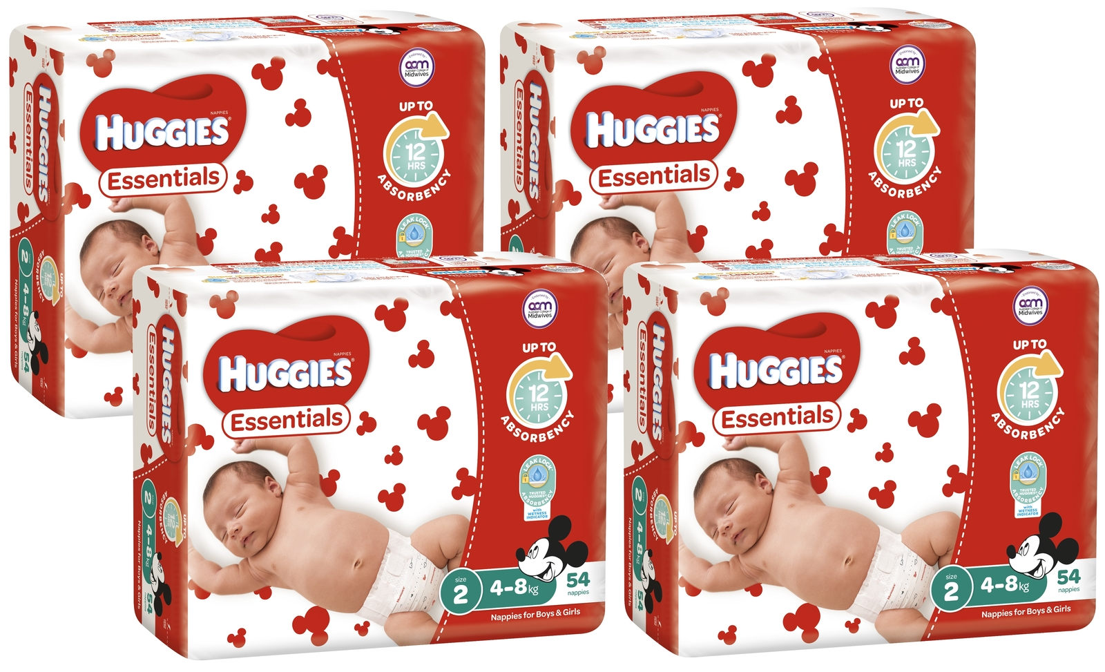 Huggies Essentials Nappies Bulk Value Box - Size 2 Infant (216) image