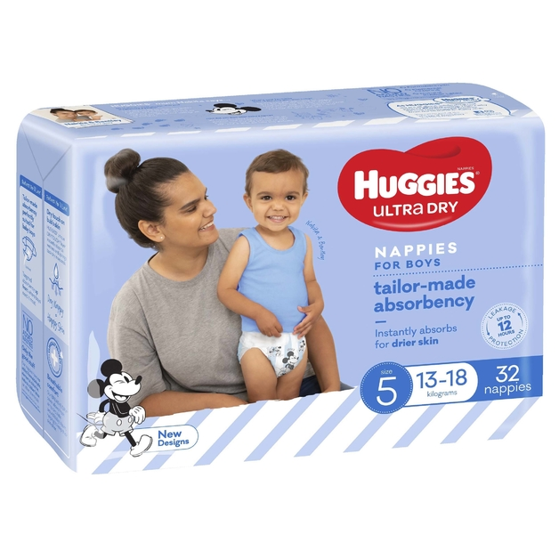 Huggies Ultra Dry Nappies Bulk - Size 5 Walker Boy (32)