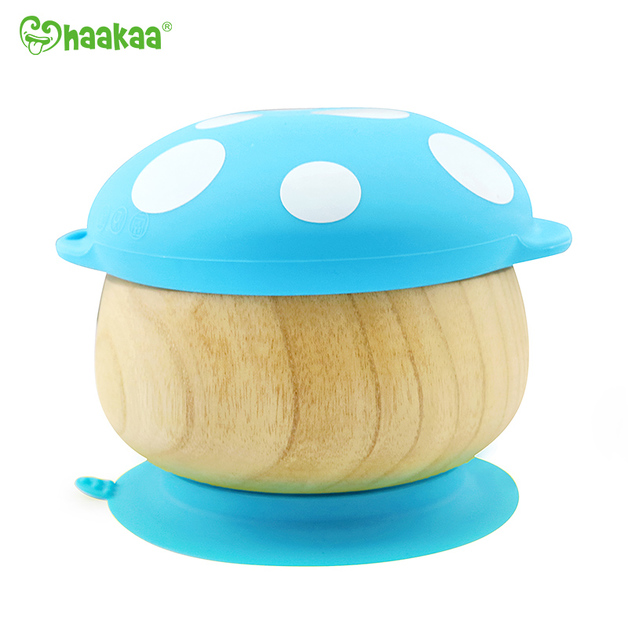 Haakaa: Wooden Mushroom Bowl with Suction Base - Blue