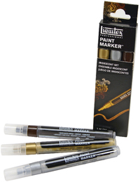Liquitex: Acrylic Marker Set 3 Fine Metallic (2mm) image