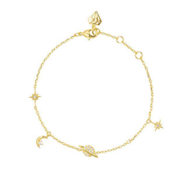 Wanderlust + Co: Drops of Saturn Gold Sterling Silver Bracelet