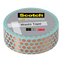 Scotch Expressions: Foil Washi Tape - Mint Hexagon (15mm x 7m)