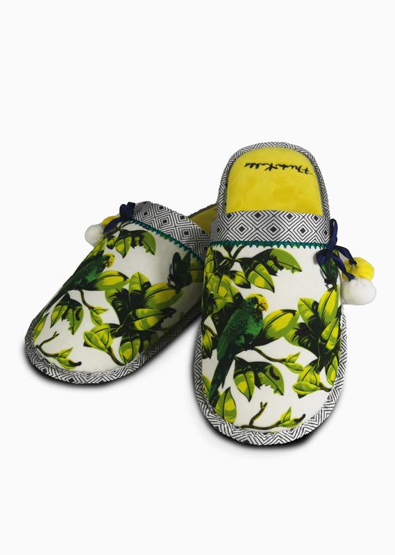 Frida Kahlo: Plush Mule Slippers With Pom Poms - Bonito Ladies (UK 5-7)