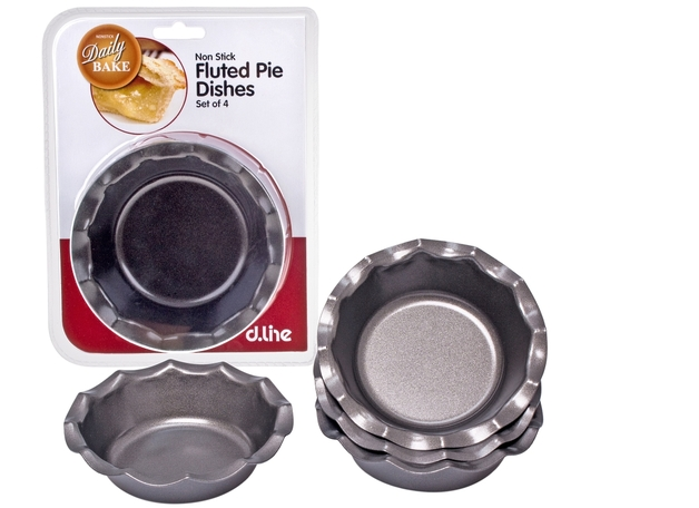 Non Stick Fluted Pie Dish - Set of 4