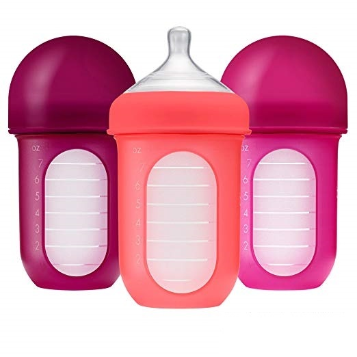 Boon Nursh Silicone Bottle 3pk - Pink (8oz)
