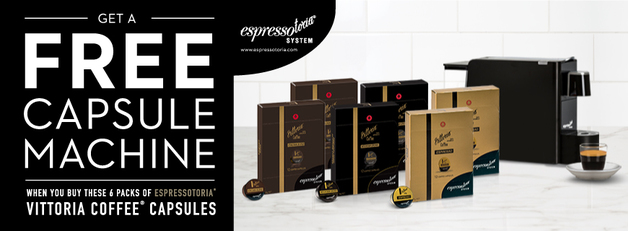 Vittoria Coffee Capsule 6 Pack Bundle with Free Capsule Machine