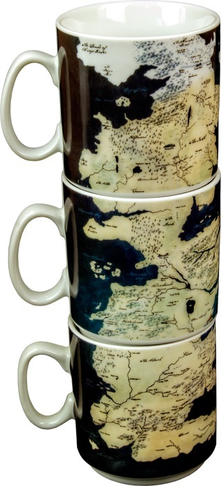 Game of Thrones: Stacked Mug Set - Westeros Map