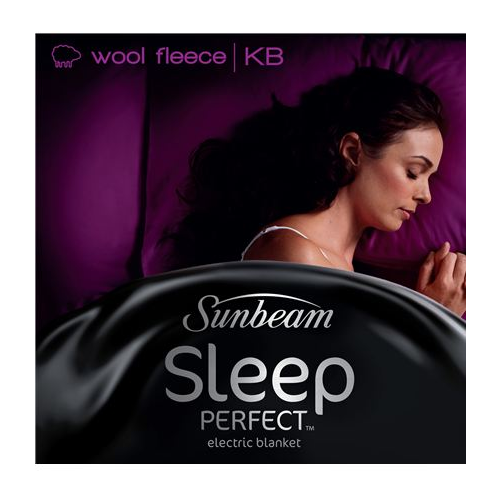 Sunbeam: Sleep Perfect Super King Bed Wool Fleece Heated Blanket