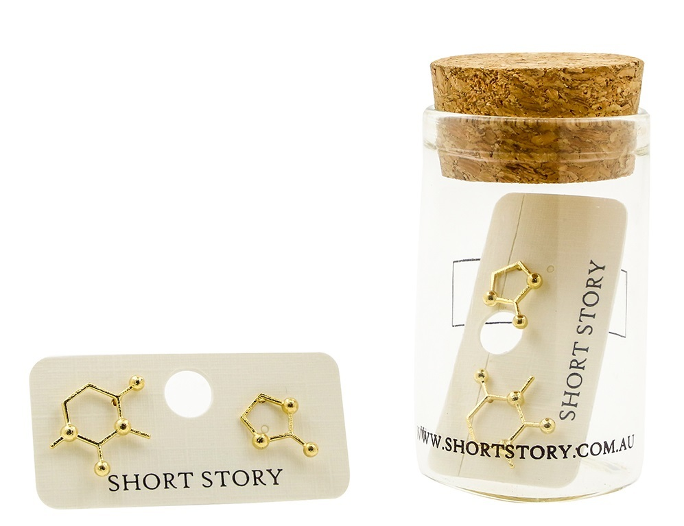 Short Story: Funky Play Earrings - Gold Molecule image