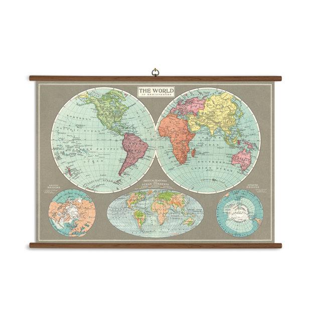 Hemispheres Map Vintage School Chart