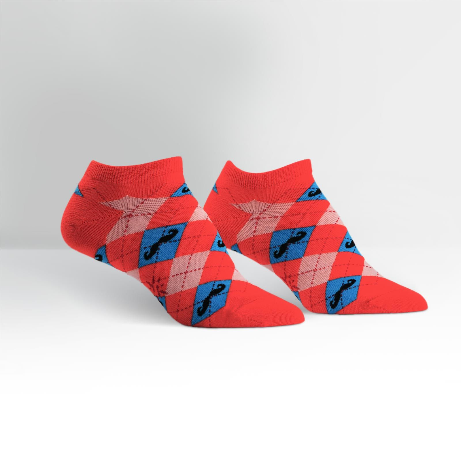 Sock it to Me Argyle Moustache Women's Ankle Socks