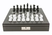 "Dal Rossi: Lockable Chess Set - 16"" Game Board (Carbon Fibre)"