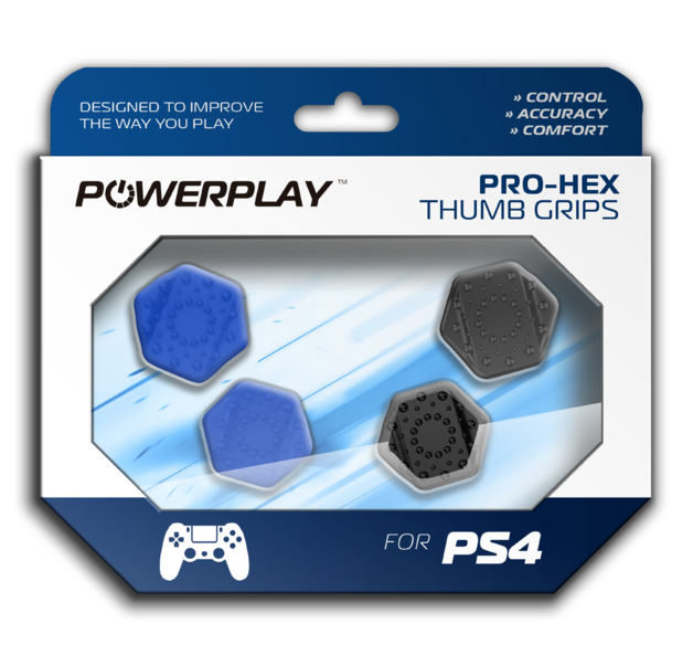PowerPlay PS4 Pro-Hex Thumb Grips (Blue) for PS4