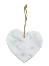 Cina Marble Heart Decoration - White (11cm)