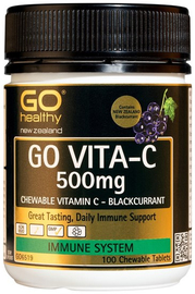 Go Healthy: GO VITA-C 500mg - Blackcurrant (100 Chew Tablets)