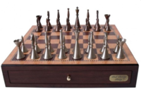 "Dal Rossi: Staunton - 16"" Metal Chess Set (Walnut Finish)"