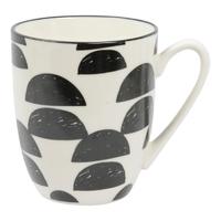 Etta Black and White Cresta Mug