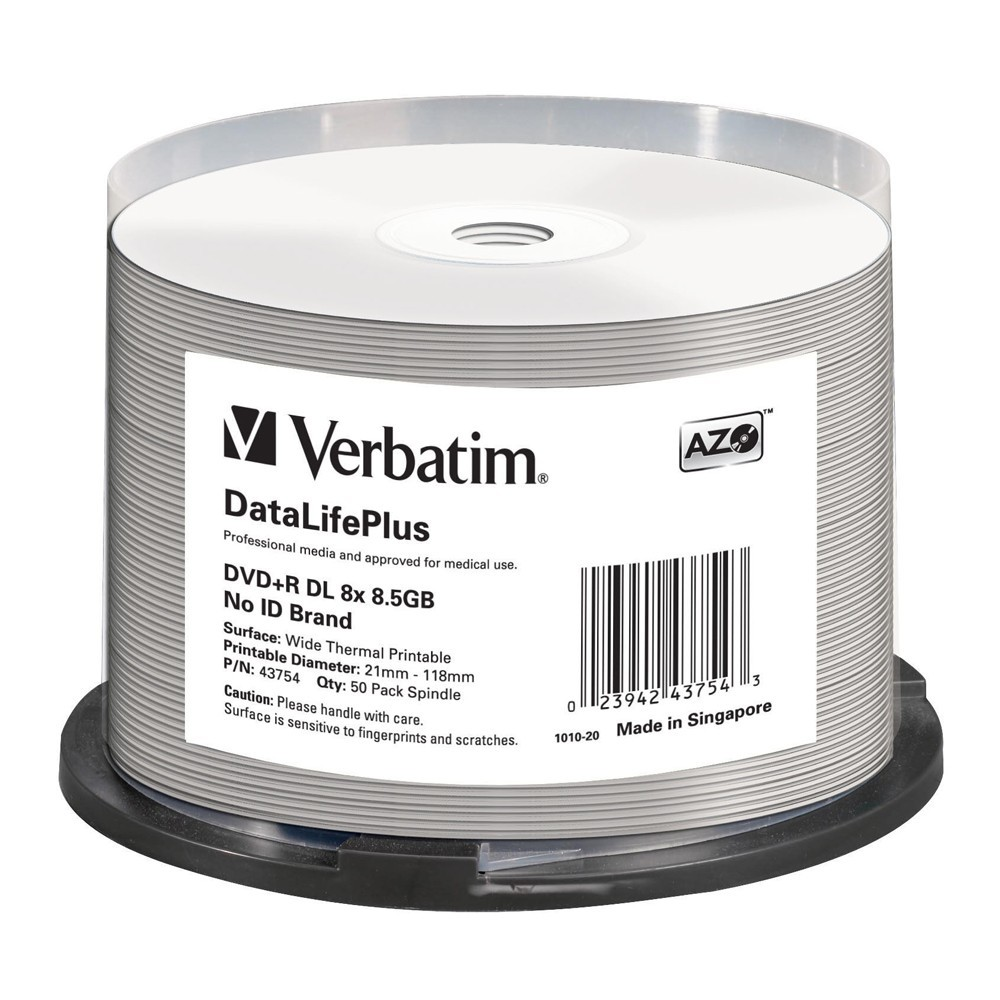 Verbatim DVD+R DL 8.5GB Wide Thermal 8x (50 Pack) image