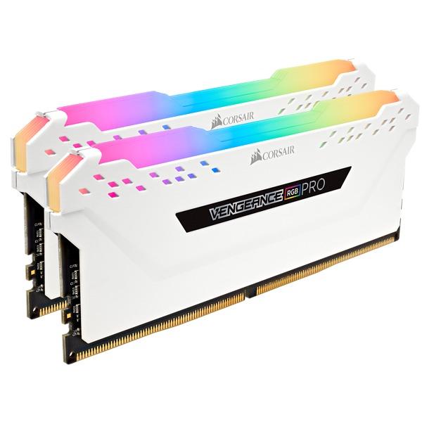 2x8GB Corsair Vengeance DDR4 2666Mhz RGB Pro White Heat Spreader RAM image