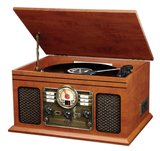 Nostalgic Classic 6-In-1 Turntable with Bluetooth, Mahogany