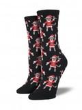 Santa Monkey Crew Socks - Black