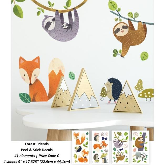Room Mates: Forest Friends Peel and Stick Wall Decals - 4 Sheets