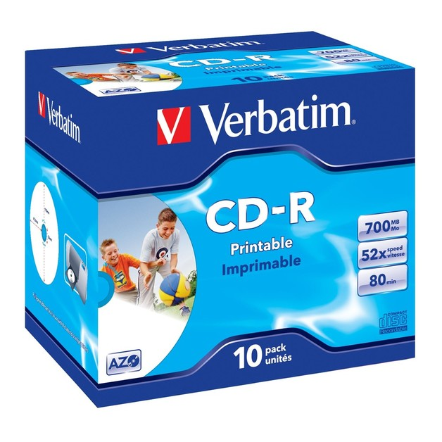 Verbatim CD-R 700MB JC White Wide InkJet 52x (10 Pack)