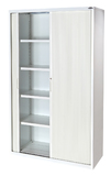 Proceed 6 Tier Tambour with 5 Shelves - W1200mm x D500mm x H1980mm (White)