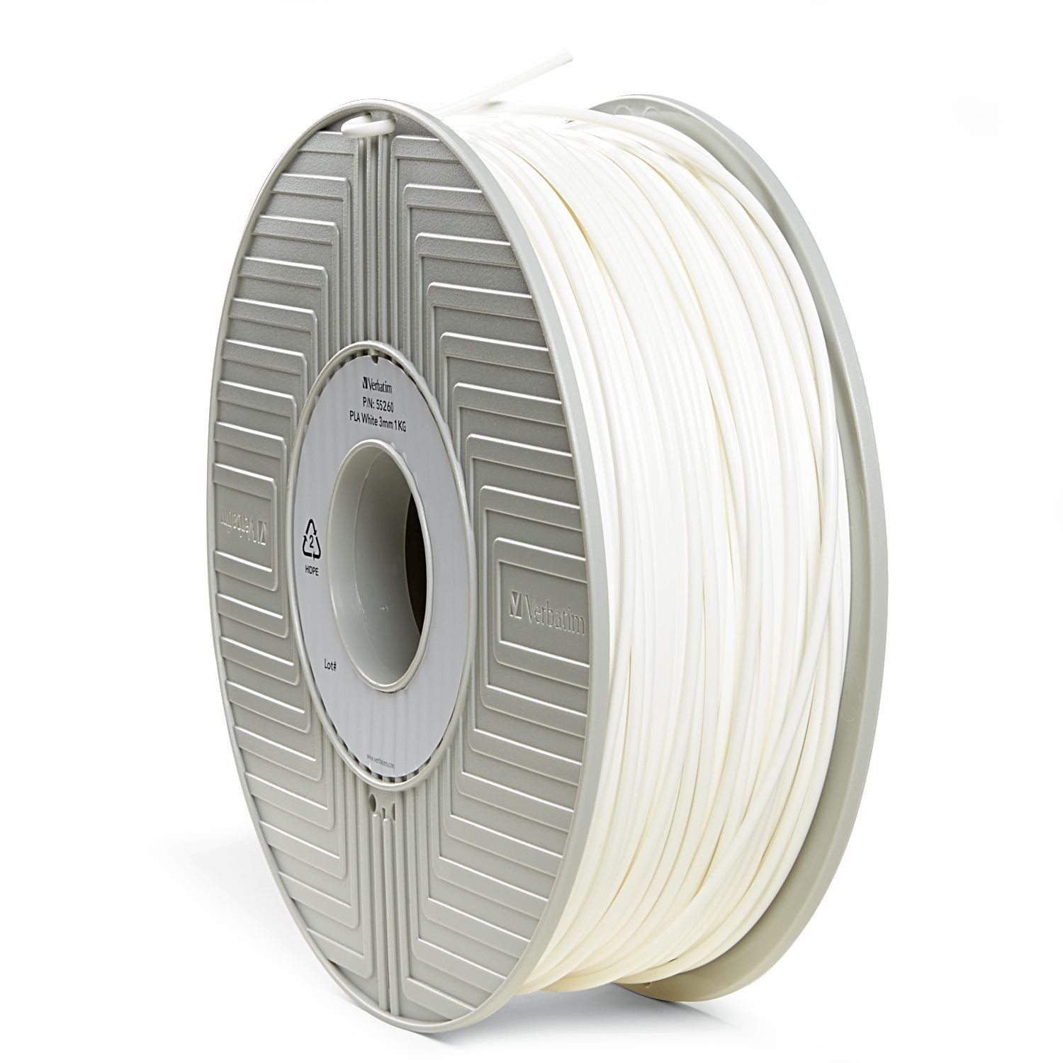 Verbatim 3D Printer PLA 3.00mm Filament - 1kg Reel (White) image