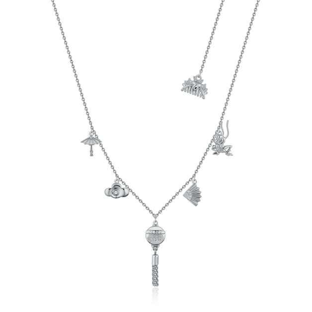 Couture Kingdom: Disney Mulan Choker Charm Necklace White Gold