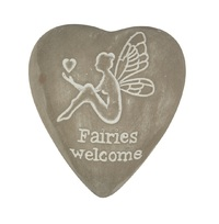Fairies Welcome - Engraved Heart Pebble