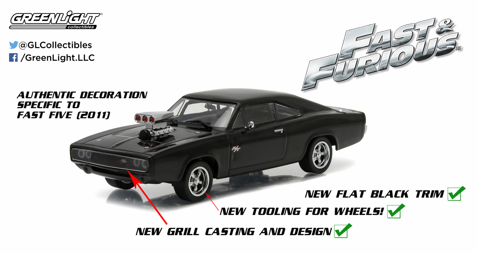 1/43: Dodge Charger- Fast & Furious - Diecast Model image