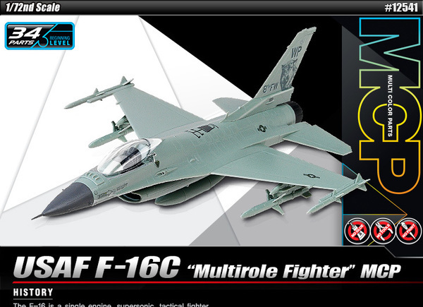 Academy 1/72 USAF F-16C Multirole Fighter MCP - Scale Model