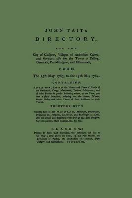 John Tait's Directory for the City of Glasgow 1783-1784 by John Tait image