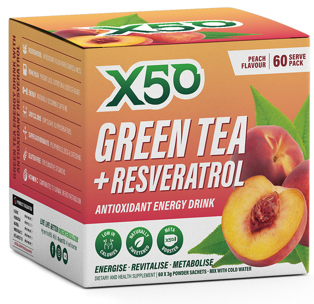 Green Tea X50 + Resveratrol - Peach (60 Sachets)