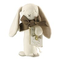 Maud n Lil: Ears the Bunny Organic Stick Rattle - White/Dove Grey