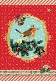 Robin On Holly Flitter Cards (Pack of 5)