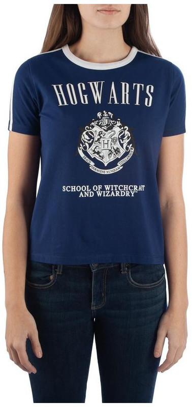 Harry Potter: Hogwarts Striped Sleeve Ringer T-Shirt (Small)