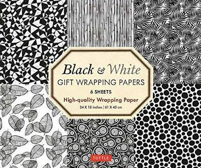 Black and White Gift Wrapping Papers - 6 sheets