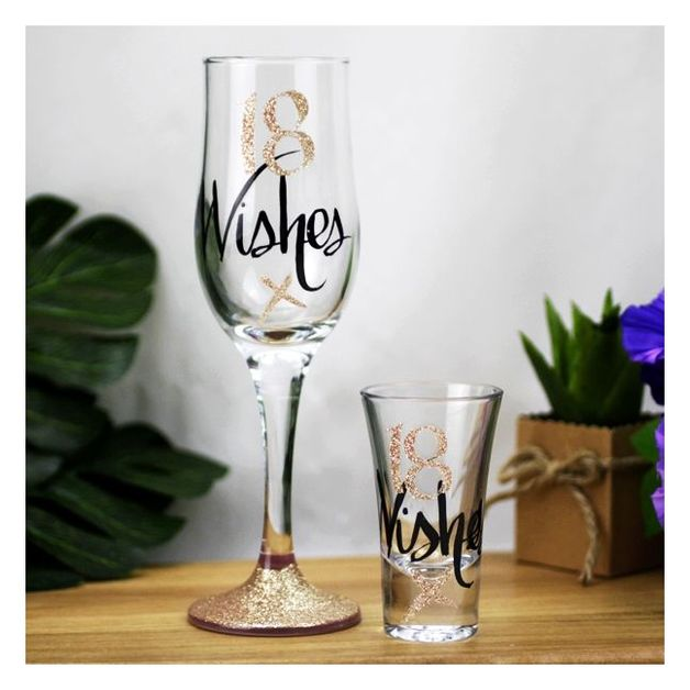 Wishes: 18 Wishes Rose Gold Flute & Shot Glass Gift set