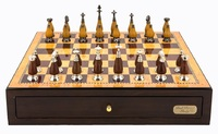 "Dal Rossi: Staunton Metal/Wood - 18"" Chess Set (Walnut Finish)"