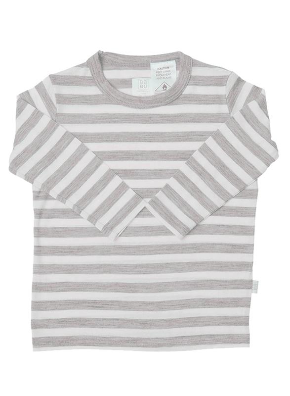Babu: Merino Crew Neck Long Sleeve T-Shirt - Grey Stripe (1 Year)
