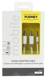 Pudney: 3.5mm Stereo Plug To 2 RCA Plugs 1 Metre - White