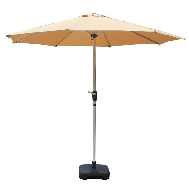 Beige Outdoor Aluminium Market Umbrella with Crank Handle - 2.7M