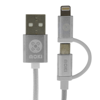Moki Braided 2 in 1 Cable - Silver