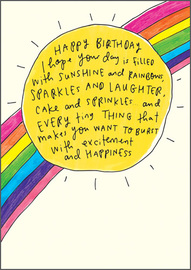 Happy News Birthday Greeting Card - Sun And Rainbow
